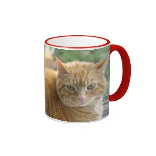Gatito rojo/amarillo grande para el café taza de dos colores