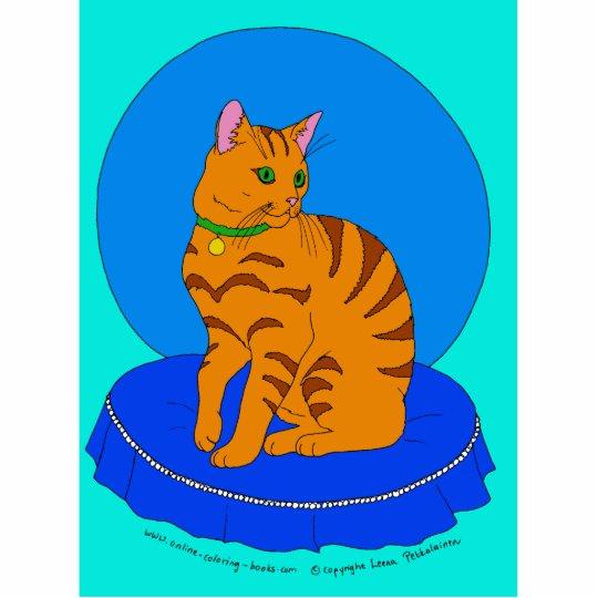 Gatito rojo bonito fotoescultura vertical
