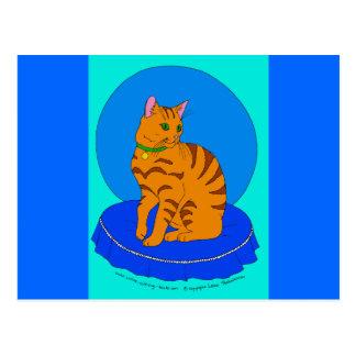 Gatito rojo bonito tarjeta postal