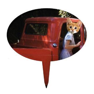 Gatito rojo del camión figura de tarta