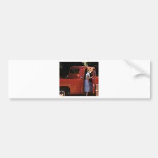 Gatito rojo del camión etiqueta de parachoque
