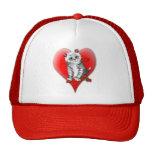 Gatito rojo del corazón y gorra color de rosa