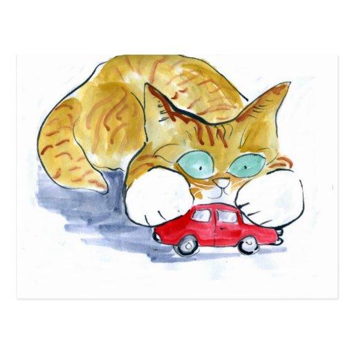 Gatito rojo del tigre del coche y del naranja postales