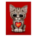 Gatito rojo lindo de OM del amor de la yoga Postales