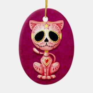 Gatito rosado del azúcar del zombi ornamento de navidad