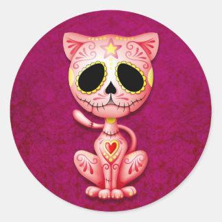 Gatito rosado del azúcar del zombi etiquetas redondas