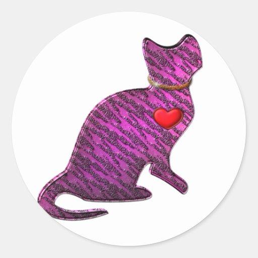 Gatito rosado del tigre pegatinas redondas