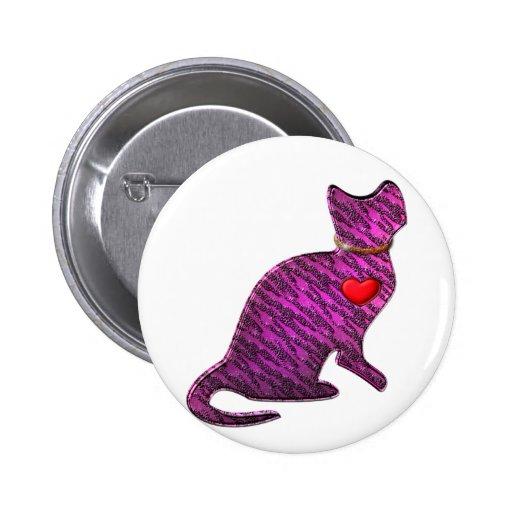 Gatito rosado del tigre pin redondo 5 cm