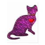 Gatito rosado del tigre postal