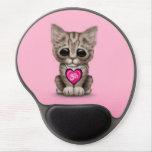 Gatito rosado lindo de OM del amor de la yoga Alfombrilla De Raton Con Gel