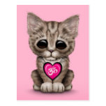 Gatito rosado lindo de OM del amor de la yoga Tarjeta Postal