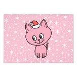 Gatito rosado lindo en un sombrero del navidad invitación 8,9 x 12,7 cm