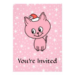 Gatito rosado lindo en un sombrero del navidad comunicados personalizados