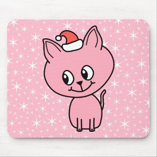 Gatito rosado lindo en un sombrero del navidad tapetes de ratones