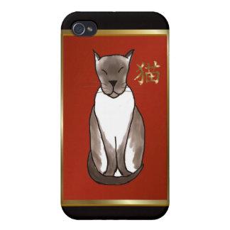Gatito siamés con el caso del iPhone 4 del rojo y  iPhone 4/4S Carcasas