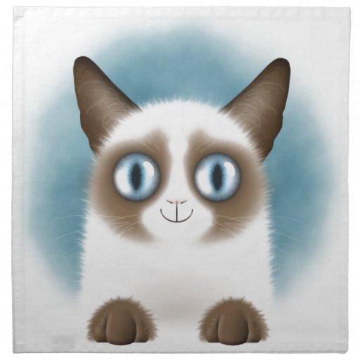 Gatito siamés curioso servilletas de papel