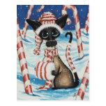 Gatito siamés del bastón de caramelo tarjetas postales