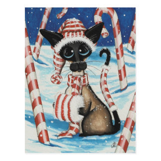 Gatito siamés del bastón de caramelo tarjeta postal