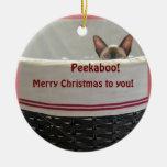 Gatito siamés del Peekaboo, Felices Navidad a uste Ornaments Para Arbol De Navidad