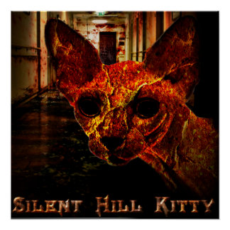 Gatito silencioso de la colina póster