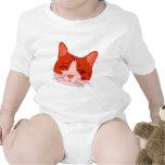 Gatito sonriente en rojo trajes de bebé