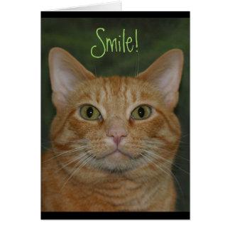 Gatito sonriente tarjeta pequeña