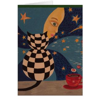 Gatito surrealista tarjeta de felicitación