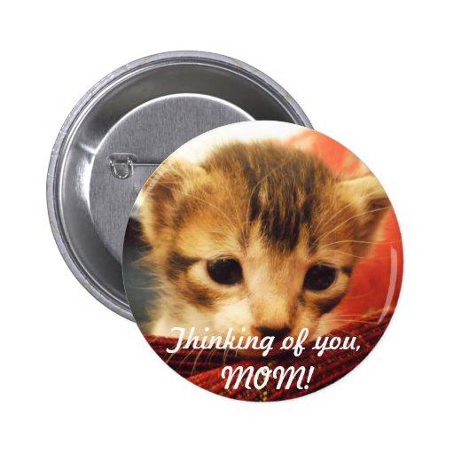 Gatito triste de la cara que piensa en USTED botón Pin