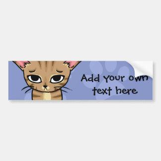 Gatito triste del gato de Tabby Pegatina De Parachoque
