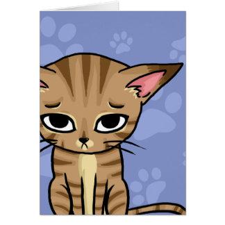Gatito triste del gato de Tabby Tarjeta Pequeña