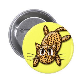 Gatito ultra lindo del leopardo del animado pin redondo de 2 pulgadas