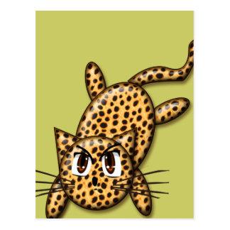 Gatito ultra lindo del leopardo del animado postal