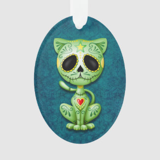 Gatito verde del azúcar del zombi en azul
