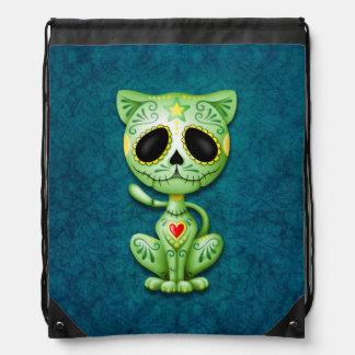 Gatito verde del azúcar del zombi en azul mochilas
