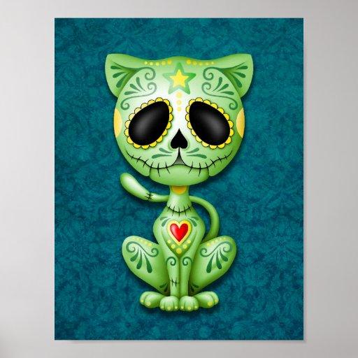 Gatito verde del azúcar del zombi impresiones