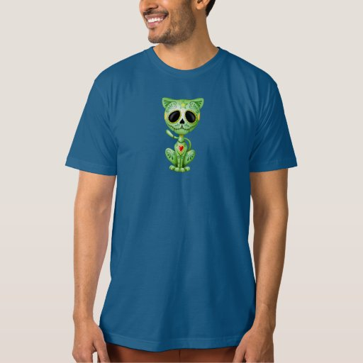 Gatito verde del azúcar del zombi playera