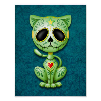 Gatito verde del azúcar del zombi póster