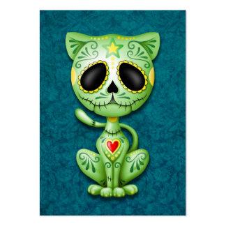 Gatito verde del azúcar del zombi plantilla de tarjeta personal
