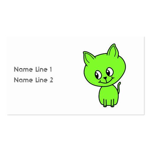 Gatito verde lindo tarjetas de visita
