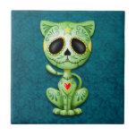 Gatito, verde y azul del azúcar del zombi azulejo cuadrado pequeño