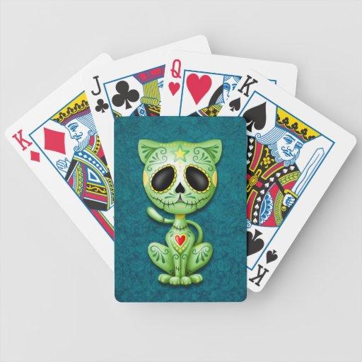 Gatito verde y azul del azúcar del zombi baraja de cartas