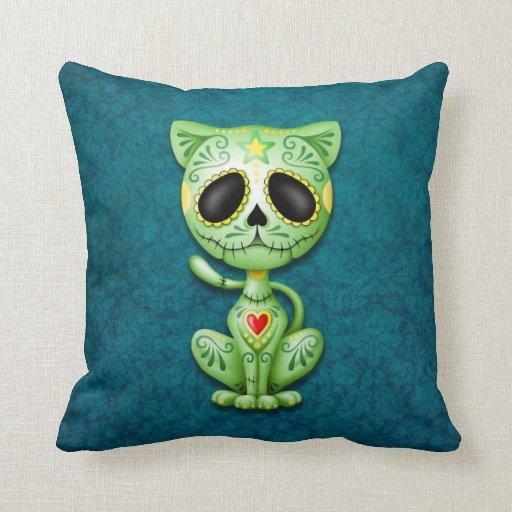 Gatito, verde y azul del azúcar del zombi cojin