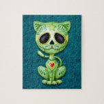 Gatito, verde y azul del azúcar del zombi rompecabeza con fotos