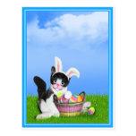 Gatito w/Background de Pascua (añada su texto) Postal