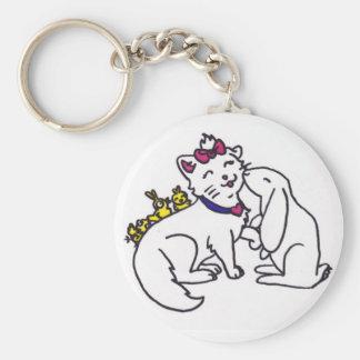 gatito y amigos lindos/pascua llavero redondo tipo pin