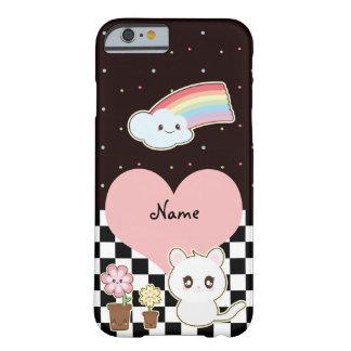 Gatito y arco iris de Kawaii tan lindos Funda De iPhone 6 Barely There