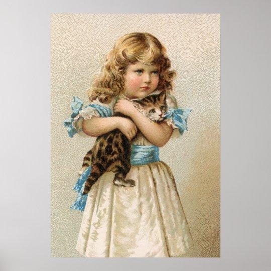 Gatito y chica del vintage póster