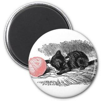 Gatito y el hilado imanes de nevera