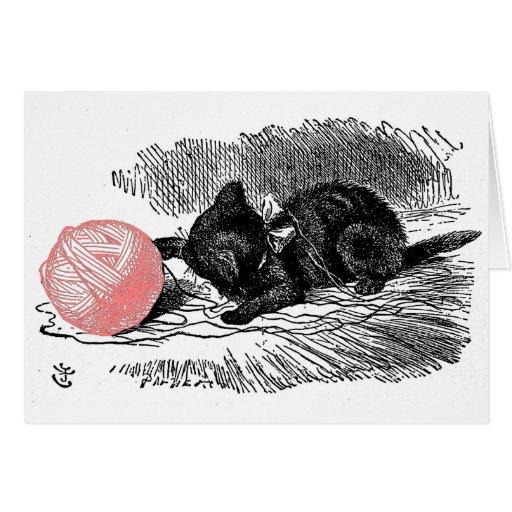 Gatito y el hilado tarjeta