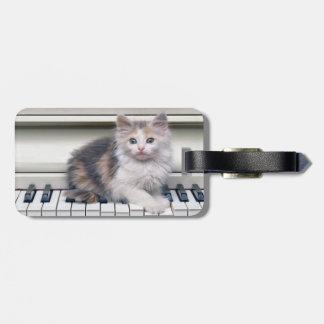 Gatito y el piano etiquetas para equipaje